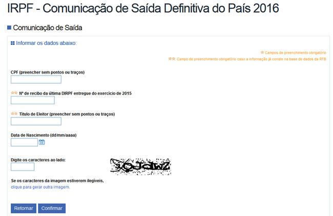 Formulário Comunicação de Saída 2016