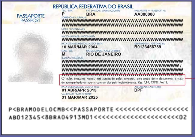 Modelo de Passaporte para menor