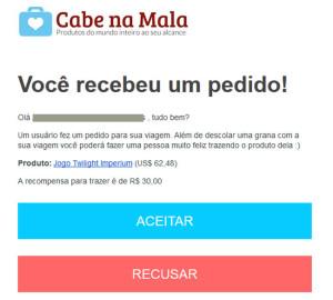 E-mail com o pedido do produto