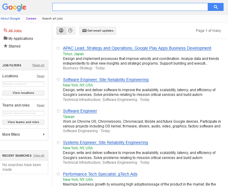 Google Careers: para quem quer trabalhar na Google (tela que exibe a lista de vagas abertas no mundo)