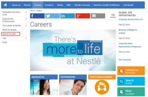 Vagas na Nestlé: página de busca de emprego