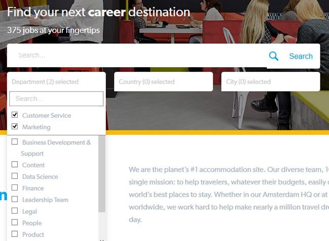 Busca de emprego na Booking.com