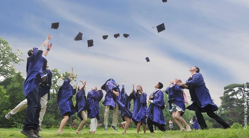 Estudar no exterior: alunos jogando o capelo para cima