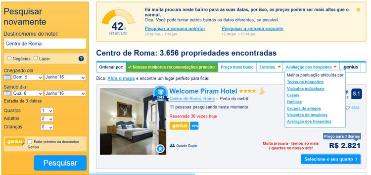 reservar hotel no Booking: tela de resultados