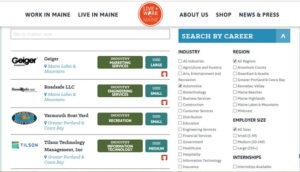 Trabalho nos Estados Unidos: página de busca de trabalho em Maine