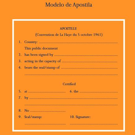 Legalização de Documentos: modelo da Apostila da Haia