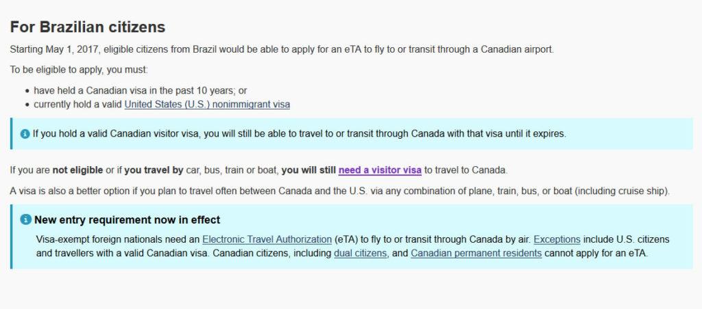 Isenção de visto canadense para alguns brasileiros