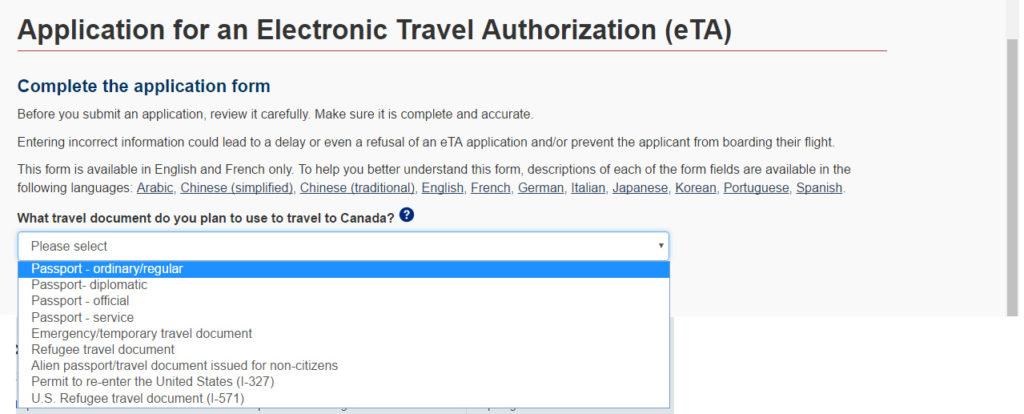 Viajar para o Canadá -Passos para a emissão do eTA (Autorização Eletrônica de Viagem)