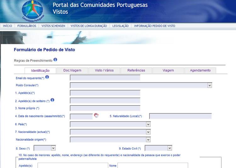 Estudar em Portugal: formulário de Pedido de Visto